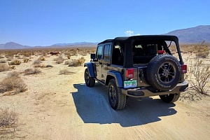Jeep on sand trail