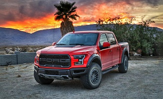 2019 Ford Raptor at sunset in Borrego Springs California