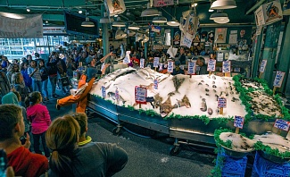 Seattle bachelor party ideas including visiting Pike Place Market for fish throwing