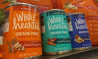 bags and cans of Wholehearted dog food
