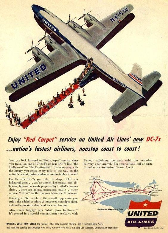 introducing red carpet service on united airlines vintage airline poster