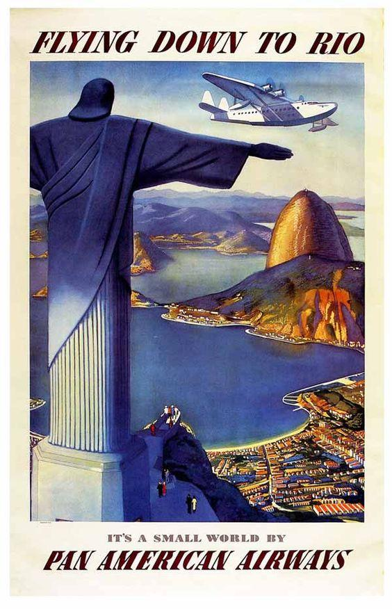 pan american airways vintage airline poster flying down to rio
