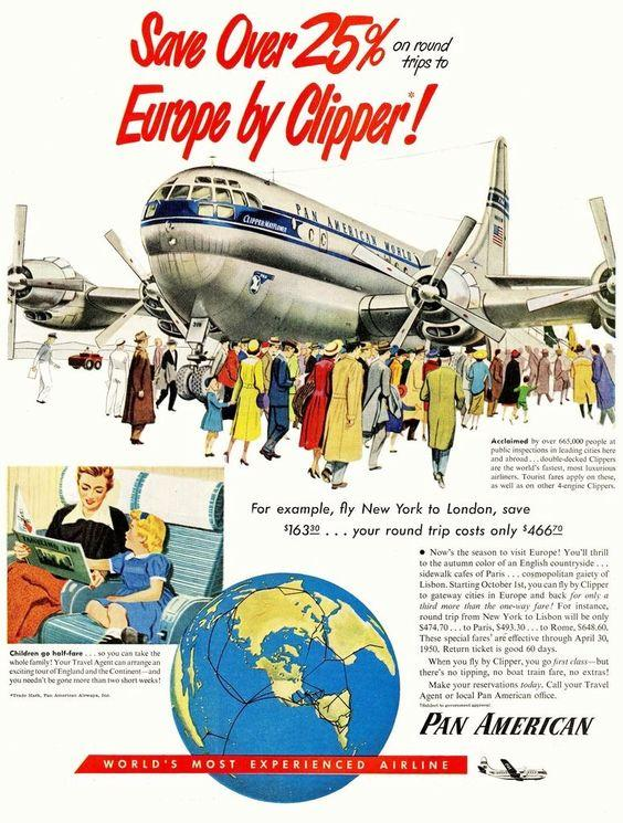 pan american service to europe by clipper plane vintage poster