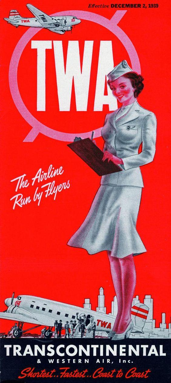 twa transcontinental and western airlines vintage poster