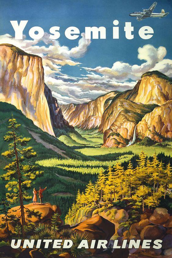 united airlines yosemite tourism poster