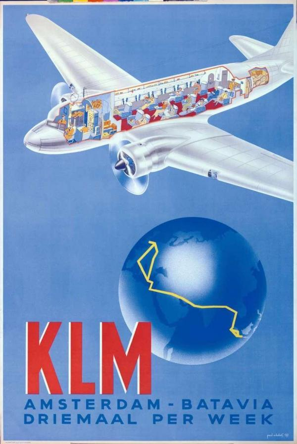 vintage klm airlines tourism poster for amsterdam netherlands