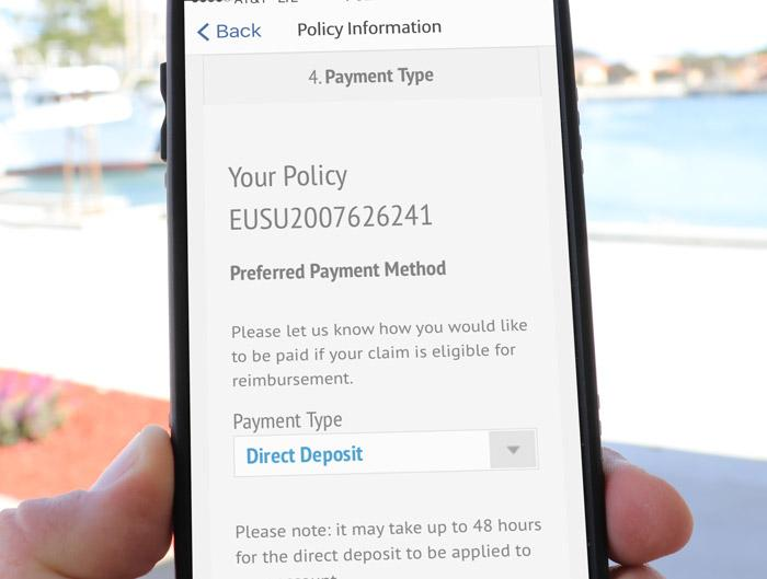 allianz travelsmart app allows customers to set claims reimbursement method via mobile app