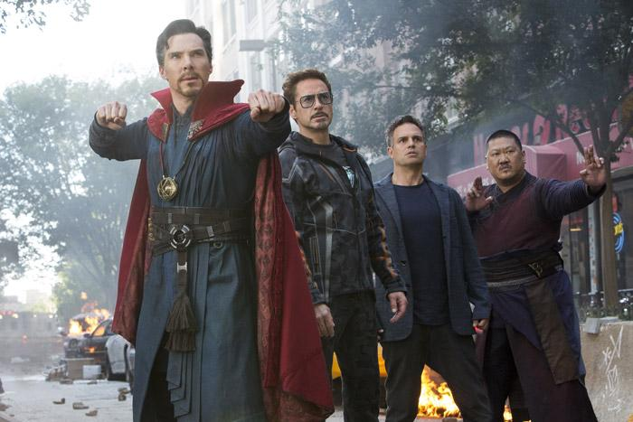 dr strange iron man and banner with wong from avengers infinity war movie