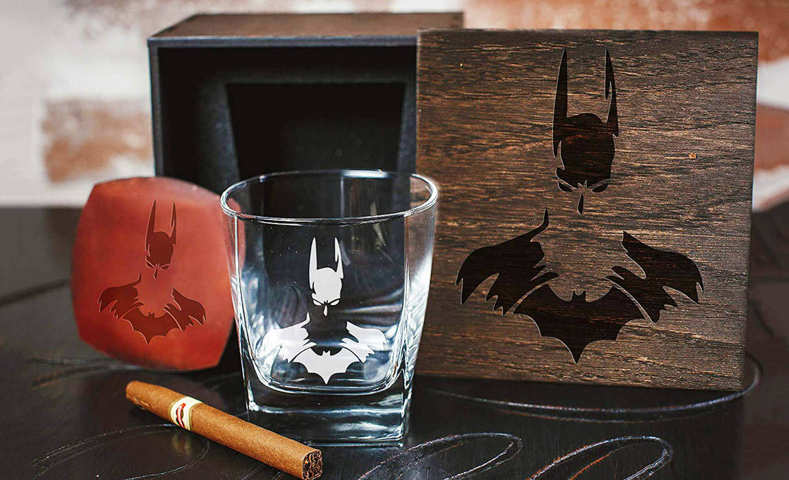 Batman Gift Ideas for Men including Batman whiskey glasses