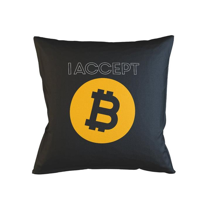 i accept bitcoin pillow