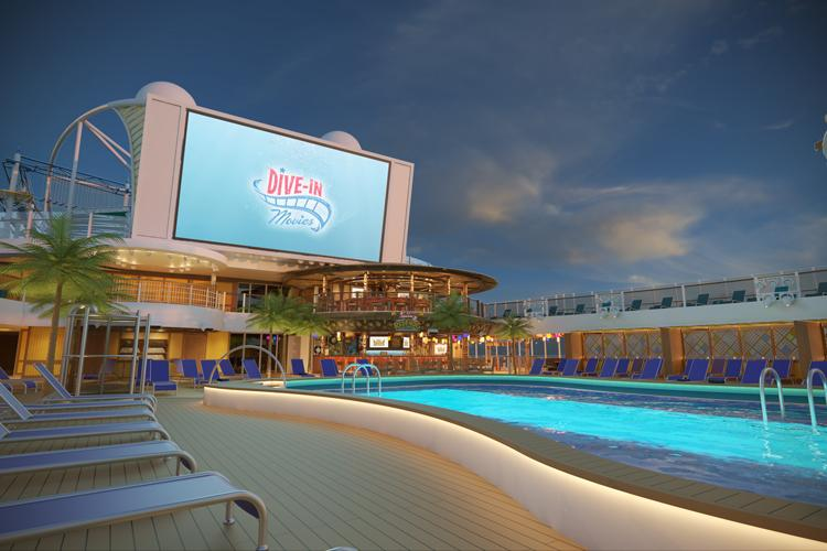 lido pool area at night on carnival mardi gras cruise ship