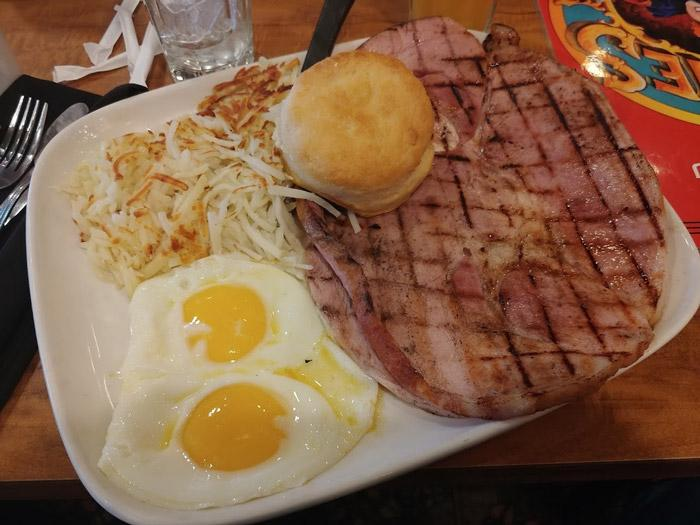 giant ham steak and eggs