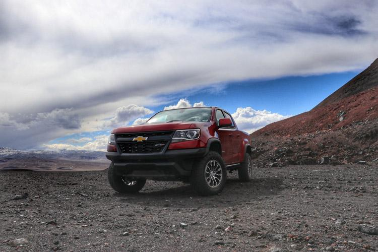 chevrolet colorado zr2 truck on a volcano in california