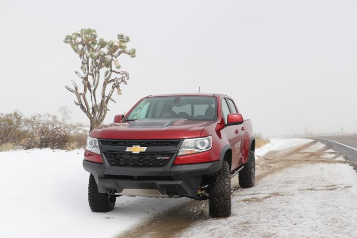 chevy colorado zr2 front joshua tree mojave desert snow