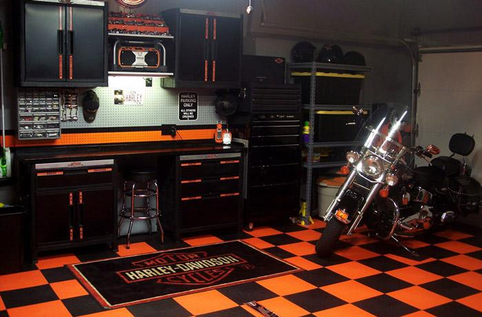 harley davidson themed garage tiles