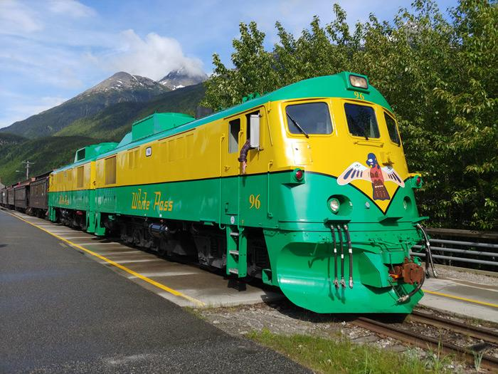 White Pass railroad train in Skagway Alaska