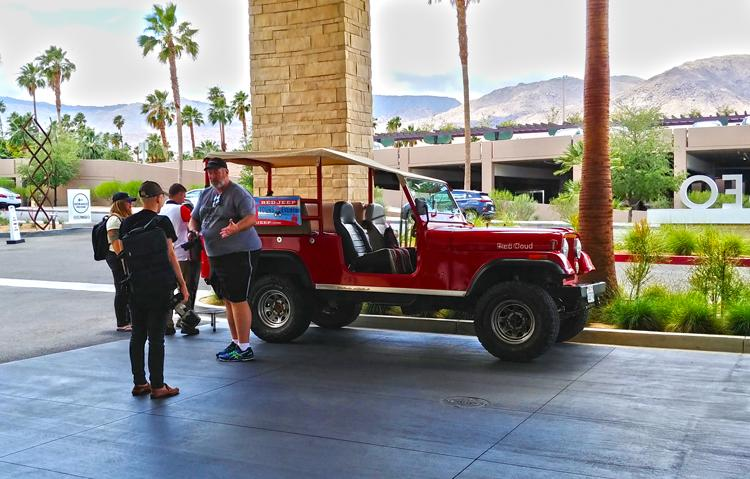 red jeep tours hotel pickup in palm desert at hotel paseo