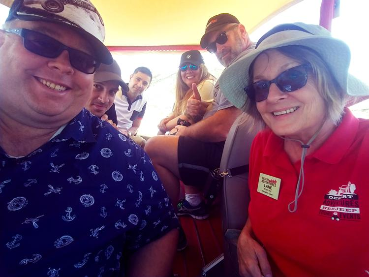 selfie in red jeep tour