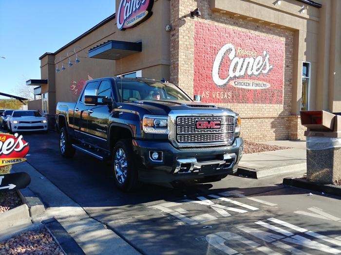 gmc sierra 2500 denali at raising canes drive through