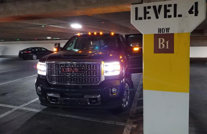 gmc sierra 2500 denali parking garage