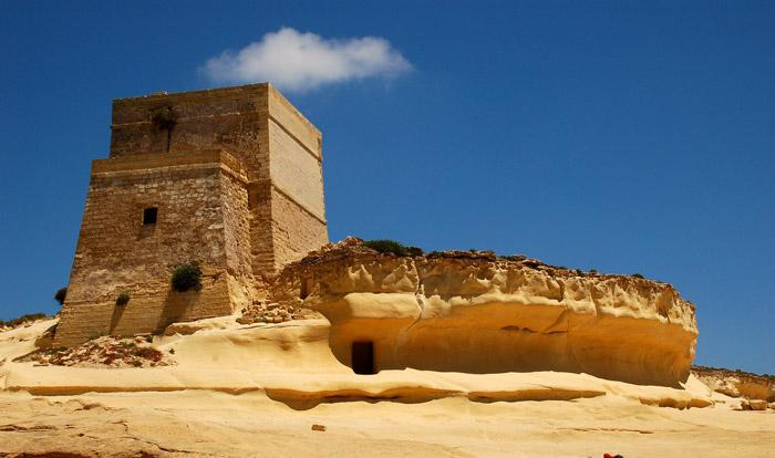 yellow sandstone fortress at xlendi gozo