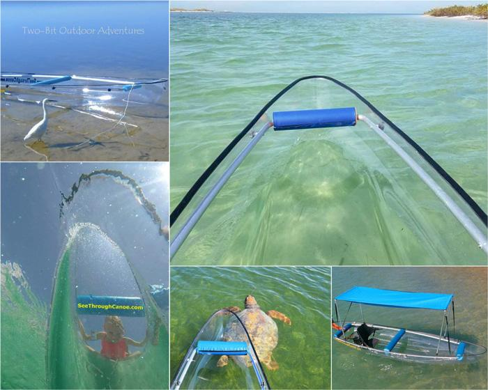 two bit adventures glass bottom canoe