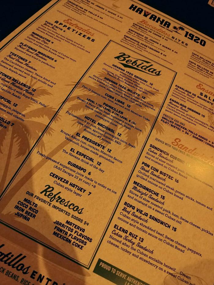havana 1920 cuban cafe menu san diego