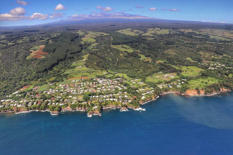 hilo hawaii and mauna kea from the air