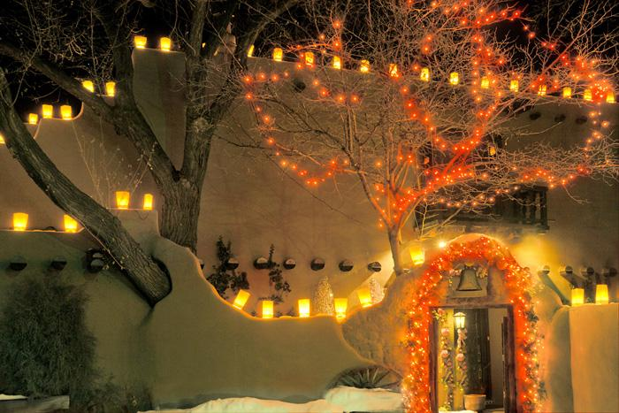 christmas lights farolitos credit tourism santa fe new mexico