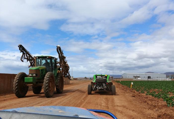 farm tractor on roads baja 1000 course baja mexico south of ensenada