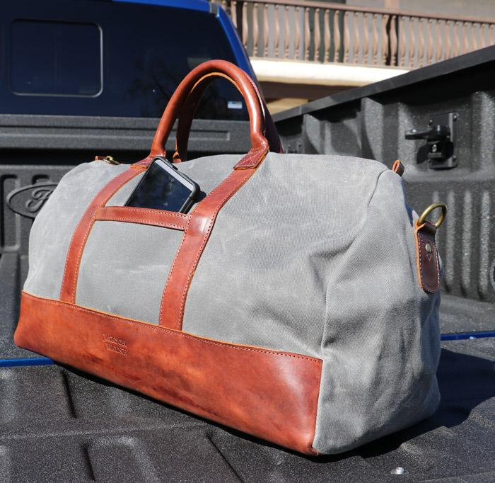 jackson wayne canvas weekender bag side pocket