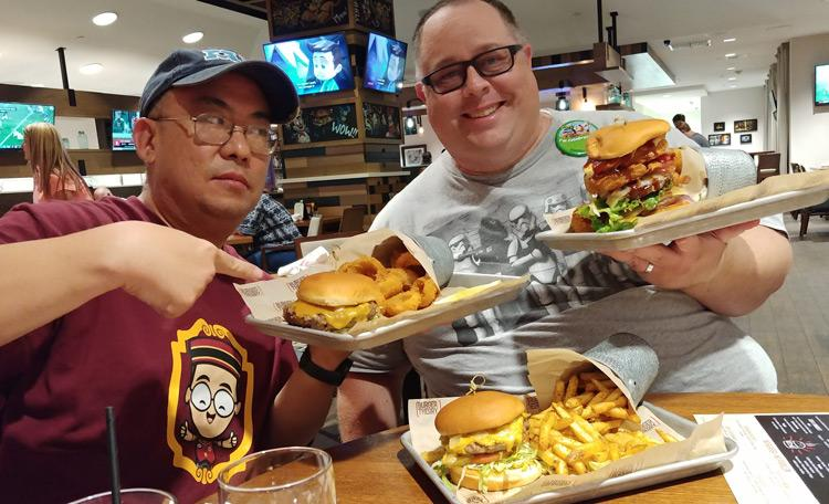james and jason sasaki at burger theory anaheim