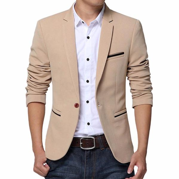 dark denim mens jeans with Pishon khaki blazer