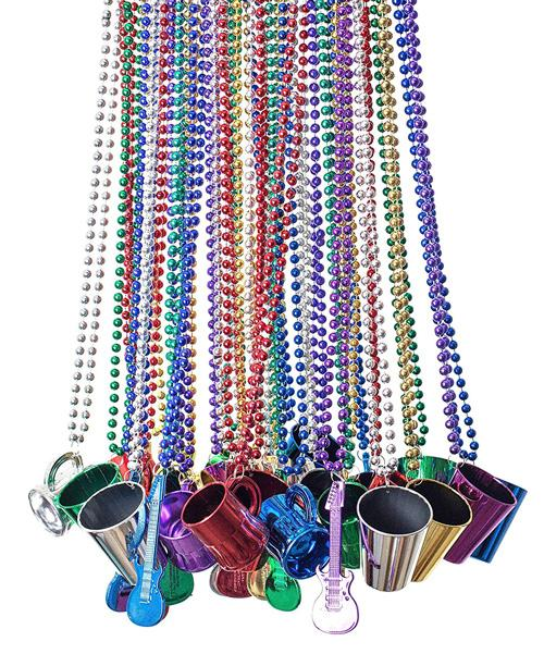 mardi gras beads with shot glasses guitars and mugs perfect for party favors