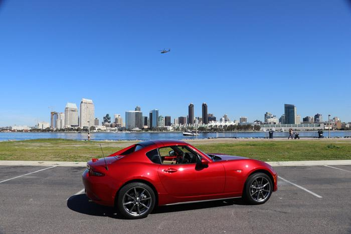 red mx 5 rf top up san diego in background