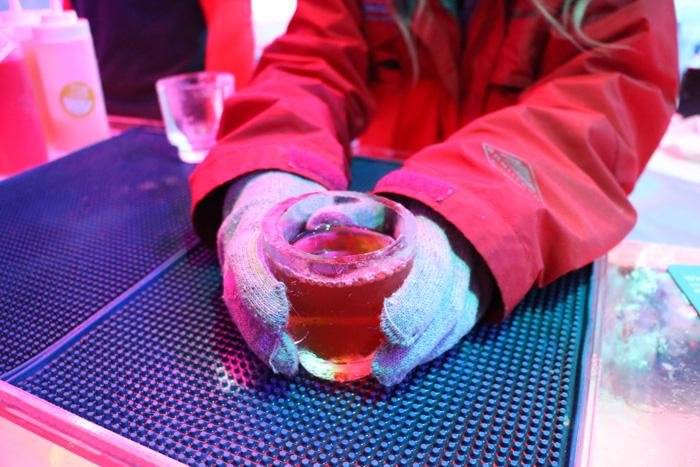 ice glass with old fashioned served in minus 5 ice bar
