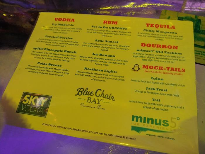 minus 5 ice bar drinks menu