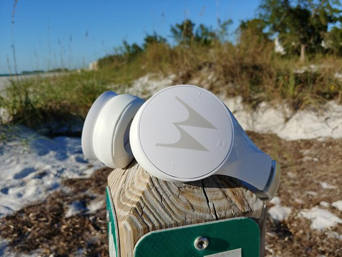 motorola pulse escape+ headphones on beach marker