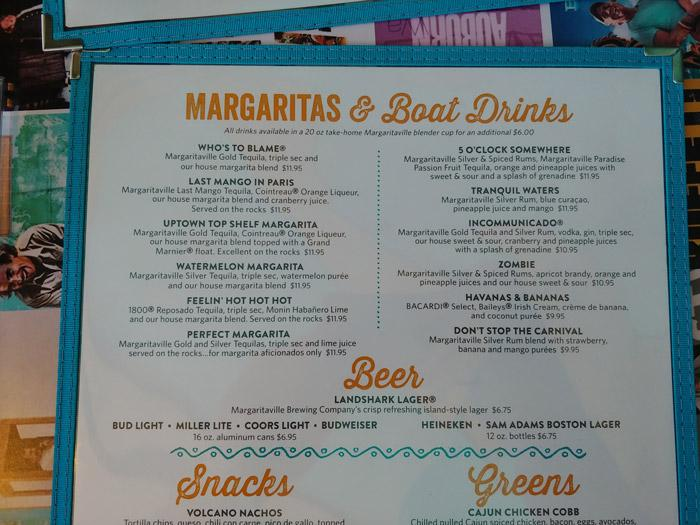 margaritas menu at margaritaville on norwegian bliss