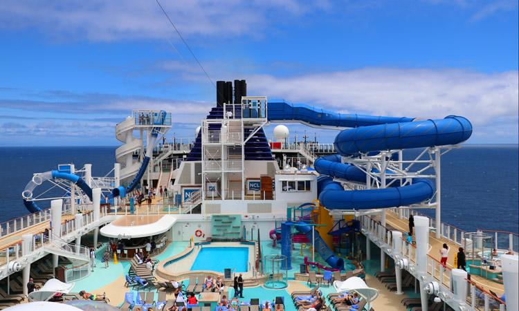 norwegian bliss pool deck with water slides