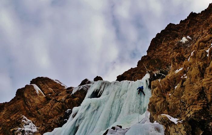 ice climbing on malans falls utah