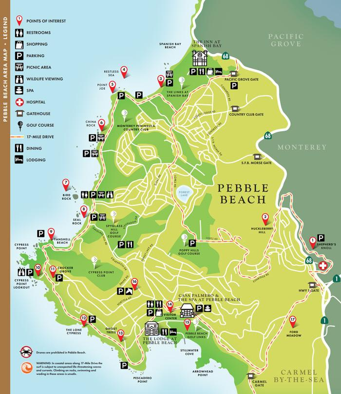 17 mile drive pebble beach map online