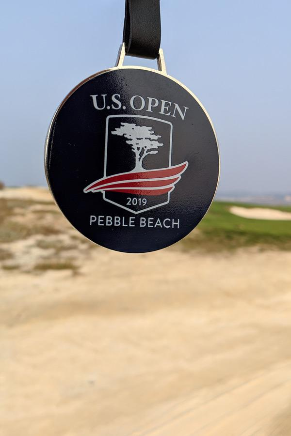 brass golf bag tag for 2019 pebble beach us open golf championship