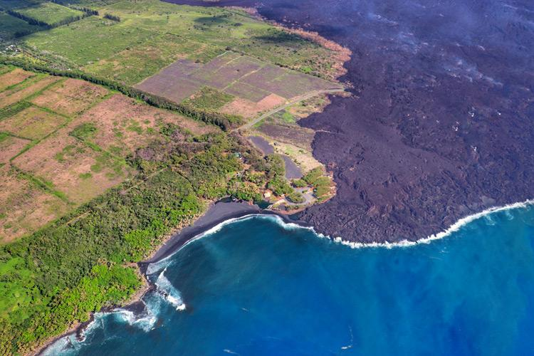 volcanic lava fields tour by helicopter near hilo hawaii