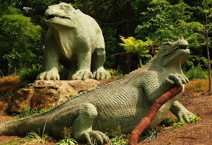 Crystal Palace dinosaur statues - this is the Iguanadon in London