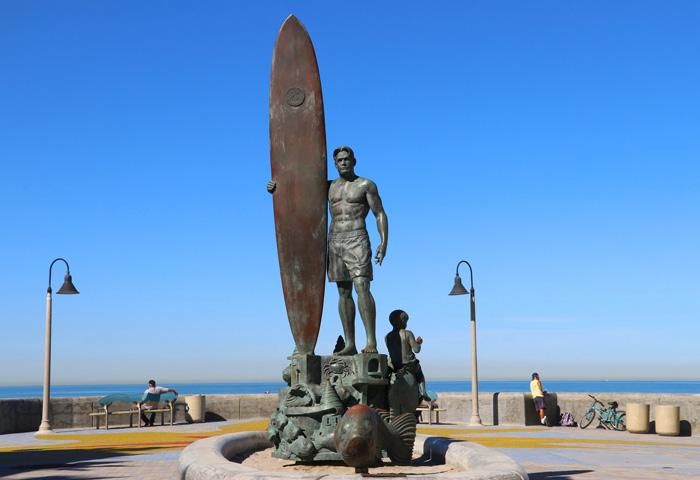 spirit of imperial beach surfer statue
