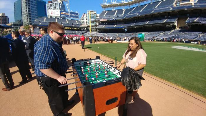 foos ball on baseline