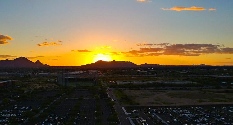 beautiful sunset view from orange sky restaurant talking stick resort in scottsdale arizona