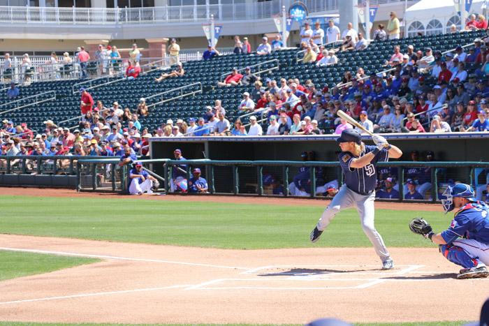 travis jankowski batting at surprise stadium spring training arizona