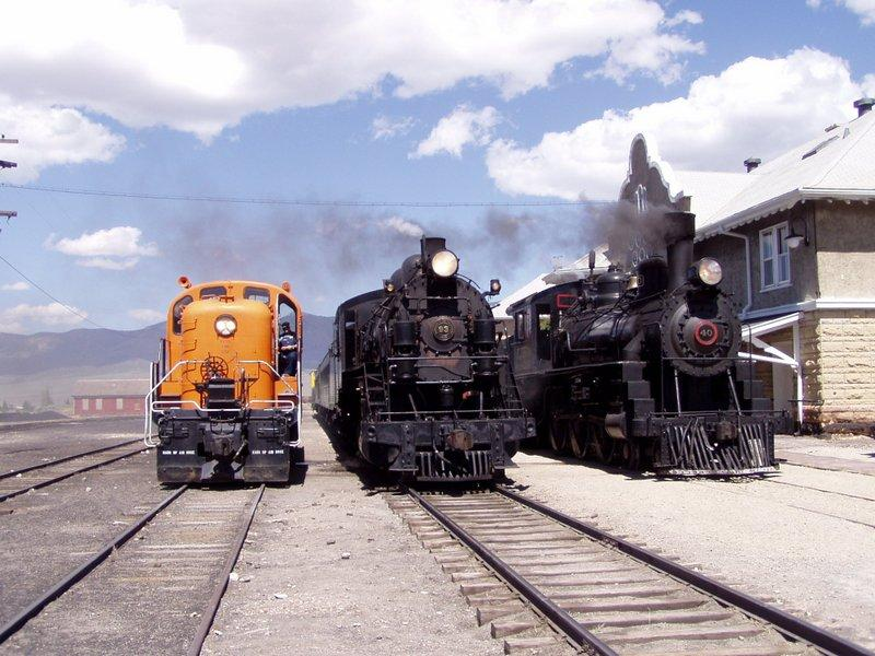 nevada northern railway three locomotives from different eras